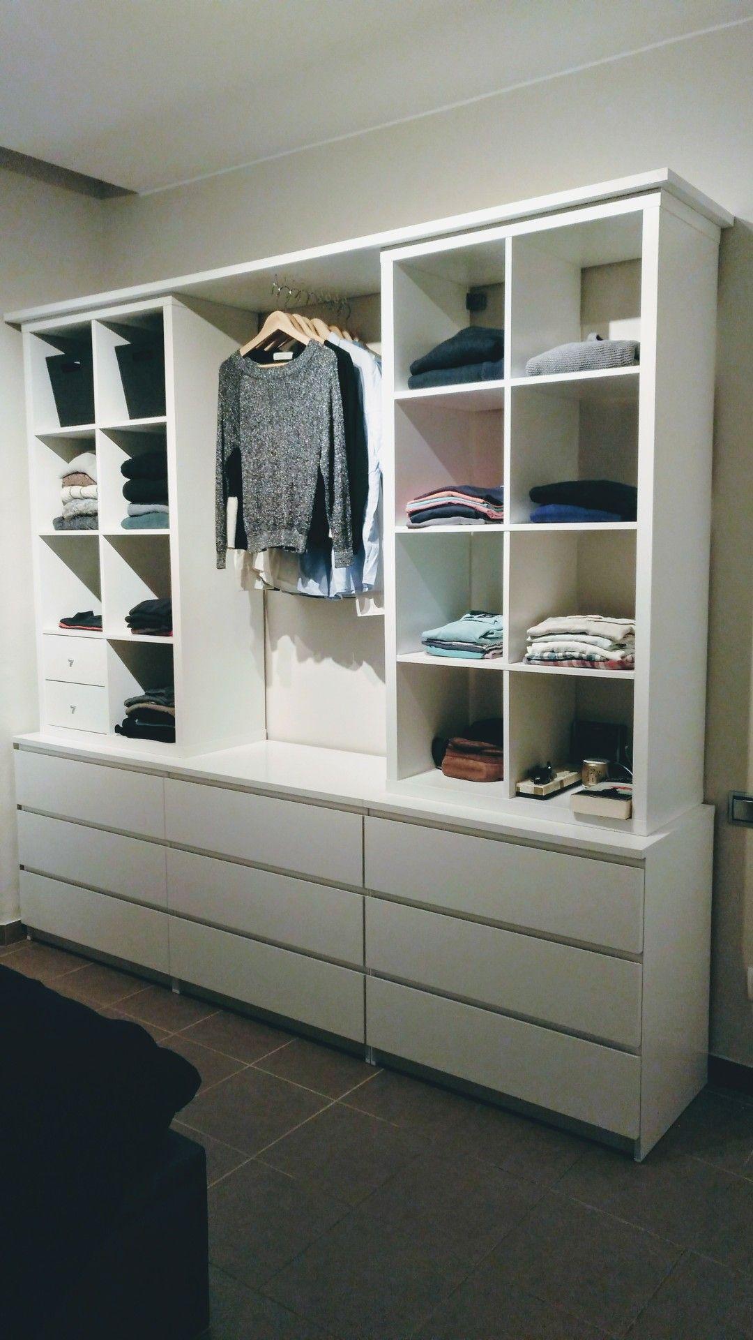 Armario abierto con kallax y malm recycling m bel in 2019 - Kallax ideen wohnzimmer ...