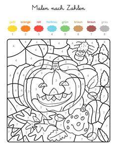 ausmalbild malen nach zahlen: halloween: kürbisse ausmalen kostenlos ausdrucken   förderung