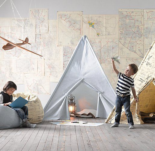 vintage map wall + play tents