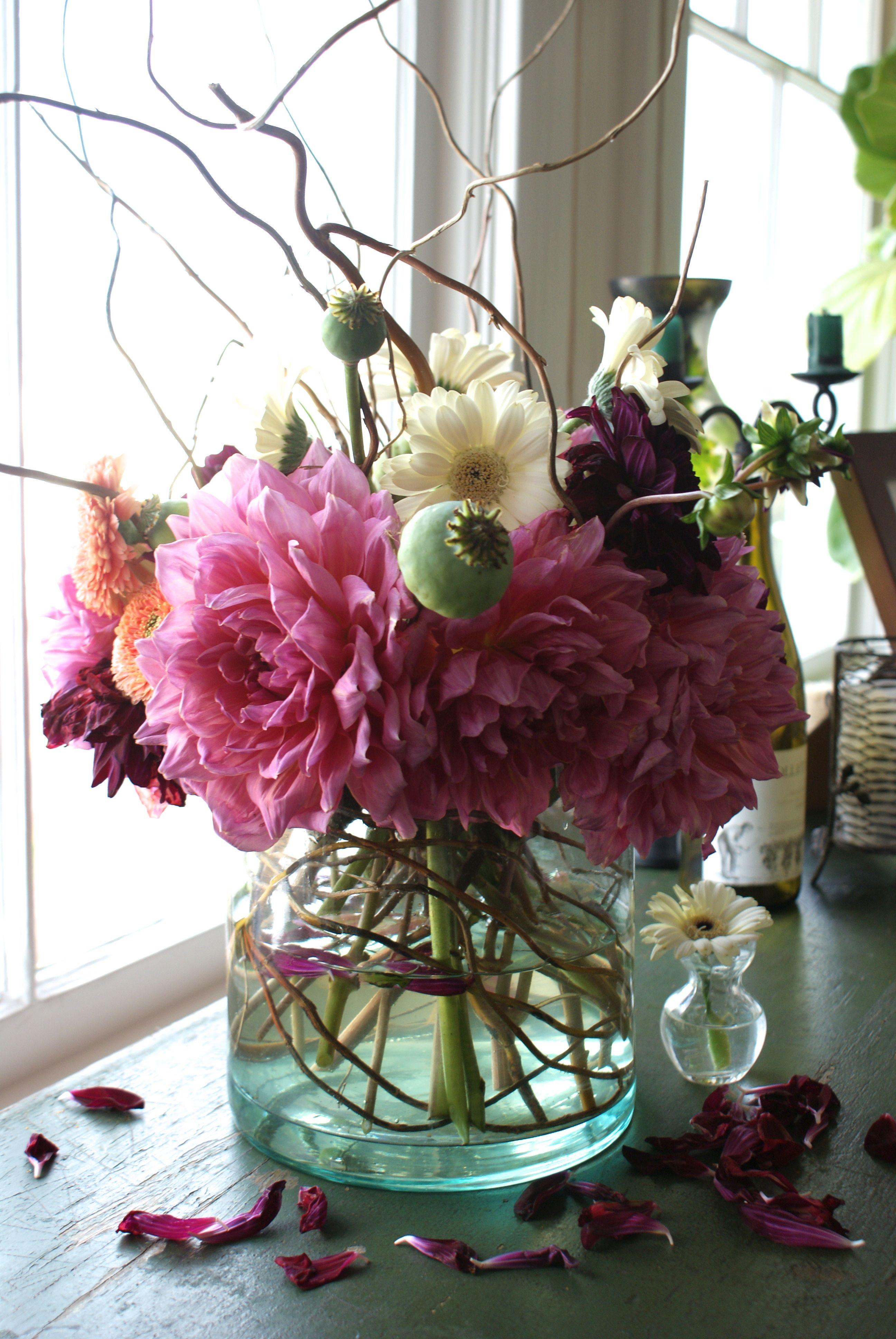 Dinner Plate Dahlias Flower Vase Arrangements Vase Design Rustic Vase