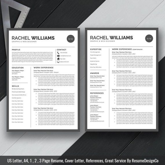 Professional Resume Template For Ms Word Cv Template Design Etsy Resume Template Professional Teacher Resume Template Teacher Resume