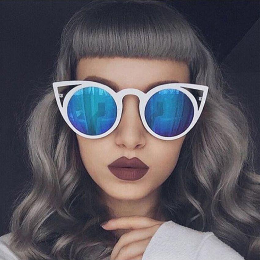 856c1734a3977 De alta Qualidade Da Moda óculos de Sol Das Mulheres Gato Olho Óculos  Espelho de Metal Quadro Do Gato Olho Óculos de Sol Das Mulheres Designer De  Marca ...