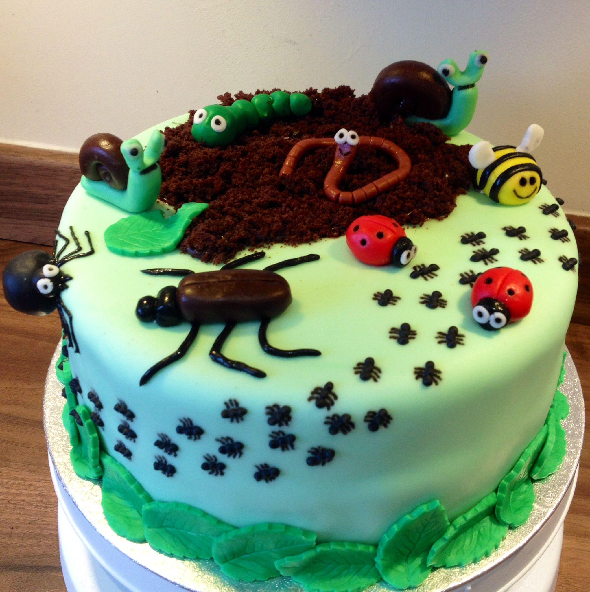 Awesome Creepy Crawly Bug Cake Bug Birthday Cakes Birthday Cake Kids Funny Birthday Cards Online Overcheapnameinfo