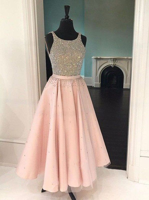 Tea Length Tulle Pink Prom Dresses