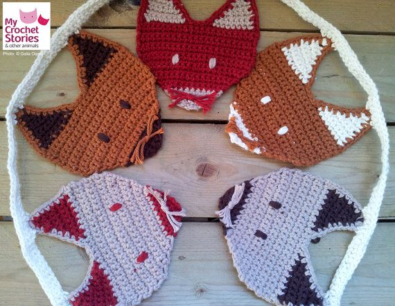 Crochet Pattern, Crochet Pattern Garland, Crochet Pattern Garland Fox, Crochet Bunting, Tenture murale, décoration fête, Baby Nursery Decor