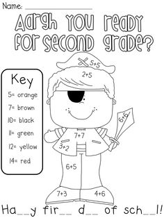 Adorable 2nd Grade Worksheets for the First Day Of School
