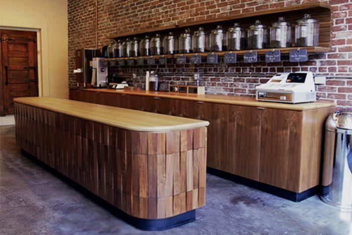 Stumptown Coffee Roasters Se Portland, Oregon Anigre Countertops With  Walnut Cabinets And Zebra Wood Shelves