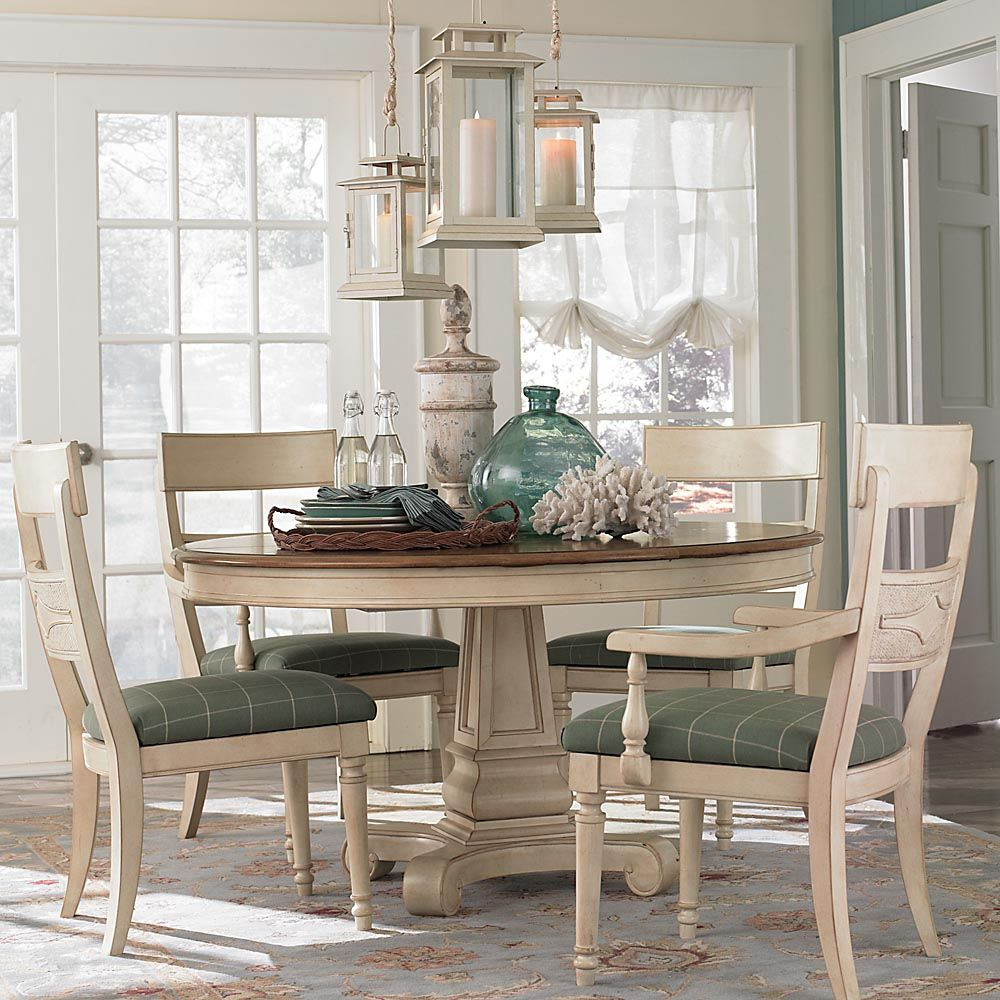 Beachy Dining Room With Ivory Table Chairs Moultrie Park Round By Bett