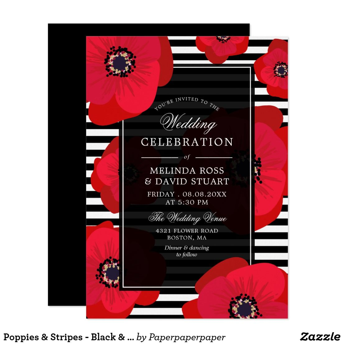 Poppies & Stripes - Black & Red Wedding Invitation   Pinterest ...