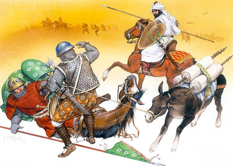 """""""The Age of Disaster, late 13th-early 14th century: • Andalusian cavalryman, late 13th century • Andalusian heavy infantryman, 13th century • North African horseman, late 13th century"""", Angus McBride"""