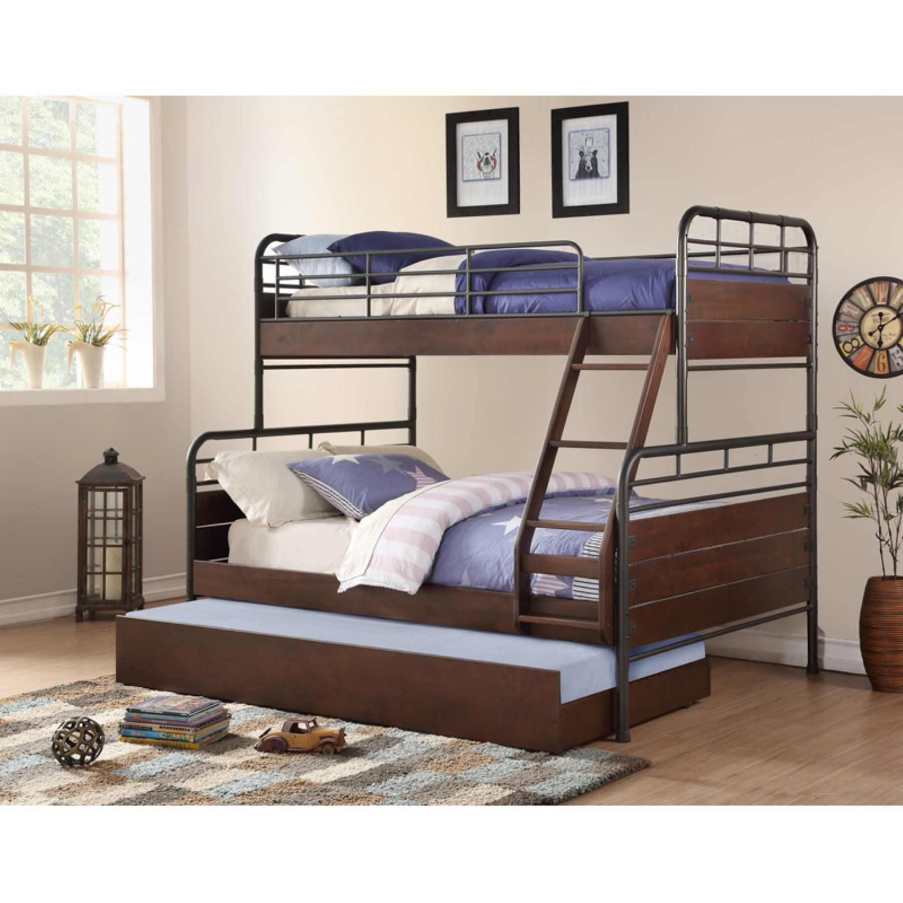 Best Woodcrest Pine Ridge Twin Over Full Metal And Wood Bunk 640 x 480