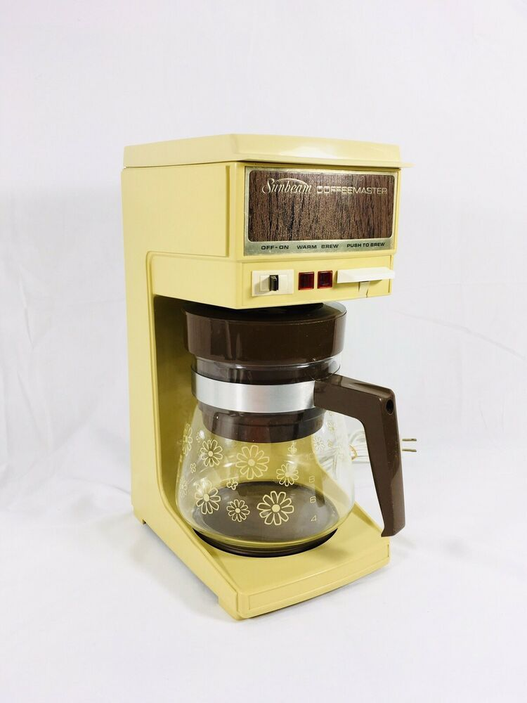 Retro Sunbeam Coffeemaster 10 Cup Coffee Maker 70 S Vintage Harvest Gold Flower Ebay Vintage Pyrex Glass Mr Coffee Maker Coffee History