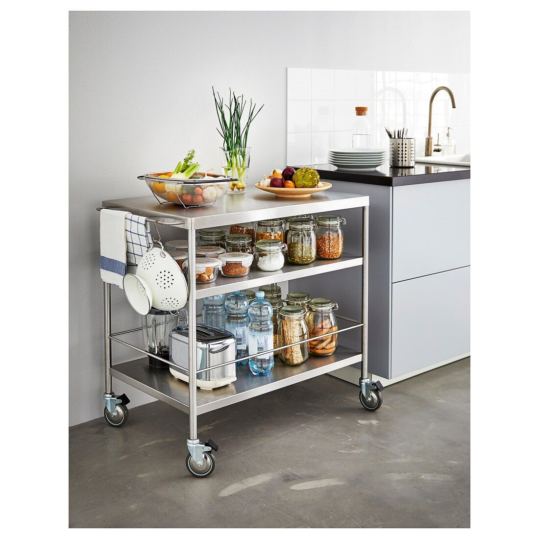 Flytta Kitchen Cart Stainless Steel Ikea Portable Kitchen Island Portable Kitchen Kitchen Island Design