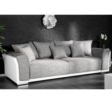 Canape Design Ricky 3 Places Convertible Blanc Gris Canape Design Canape Canape 3 Places