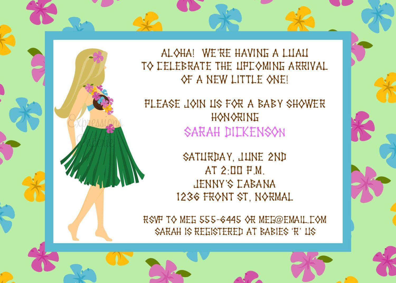 Hawaiian Luau Mommy to Be Baby Shower Invitations. | Maternity, Baby ...