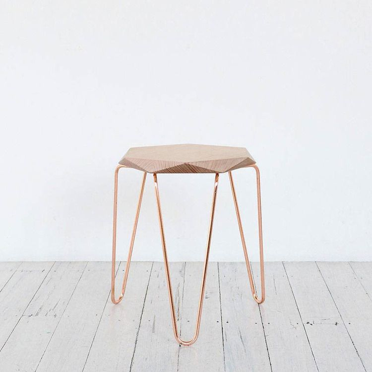 Klein Gem Stool With Natural Top And Copper Hairpin Legs Via
