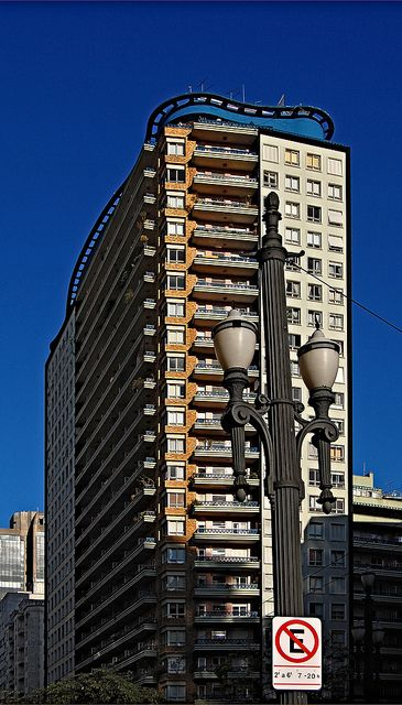 The fancy colors and funky shaped structures of João Artacho Jurado's building are present on Edifício Planalto (1956). São Paulo, Brazil
