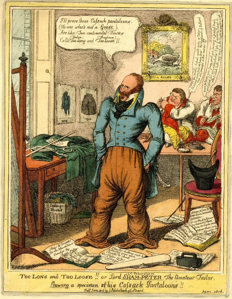 """Too long and too loose!! Or Lord Sham-Peter the amateur tailor.  Published by J Sidebotham   Print made by Charles Williams   1816  By his right foot is an advert saying """" Stays & Corsets for the Masculine Gender by Sham Peter"""""""