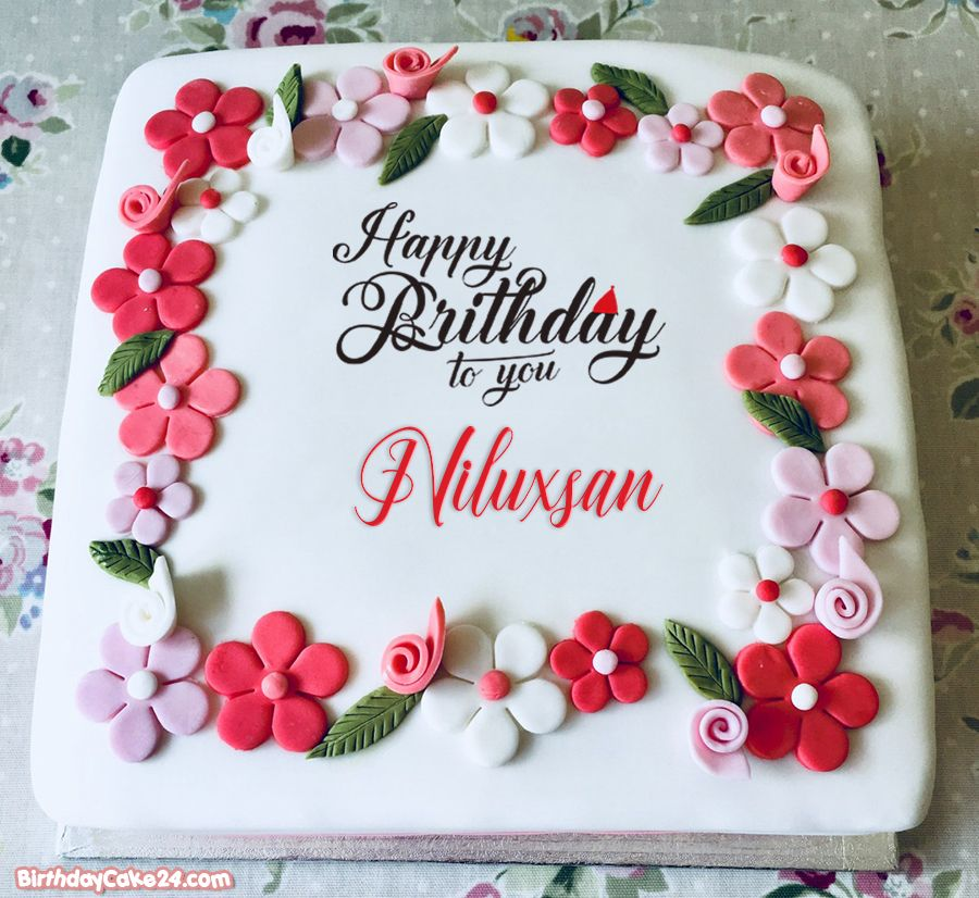 Happy Birthday Flower Cakes With Name Edit in 2020 Happy