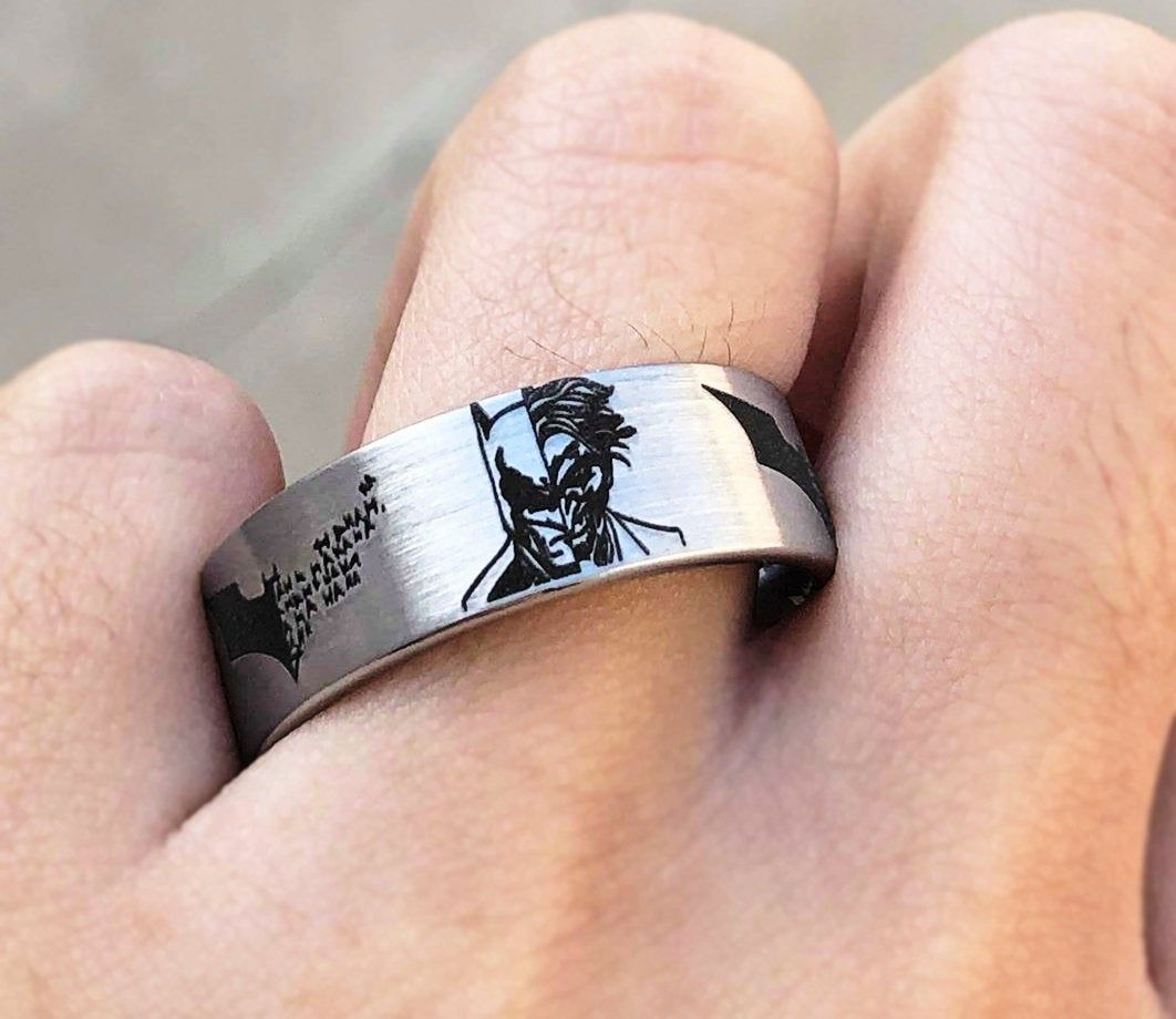 Batman And Joker Wedding Band Batman Joker Ring Joker Ring For Men Joker And Ba Diamond Wedding Bands Stackable Batman Engagement Ring Diamond Wedding Bands
