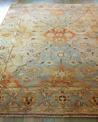 Damask On Blue Oushak Rug 10 X 14 Damasks Living