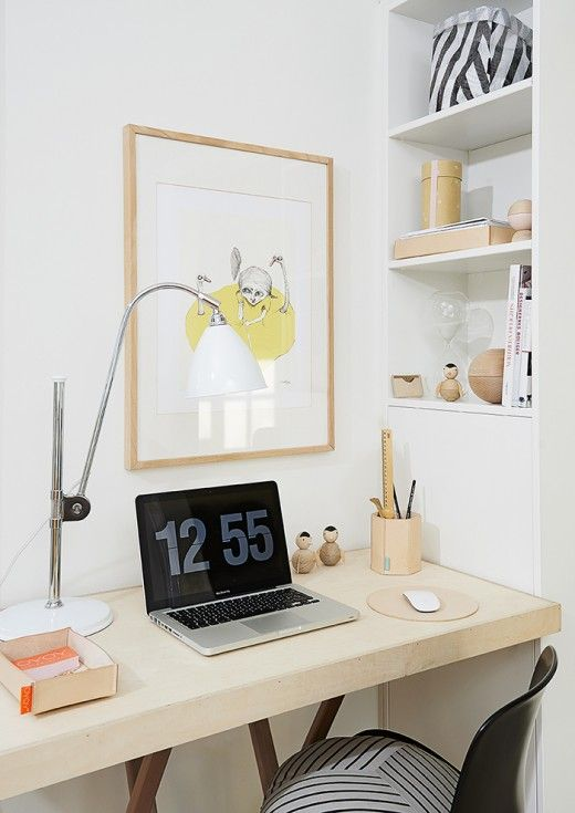 home, interior, simple, desk, shelving, work space, studio, office