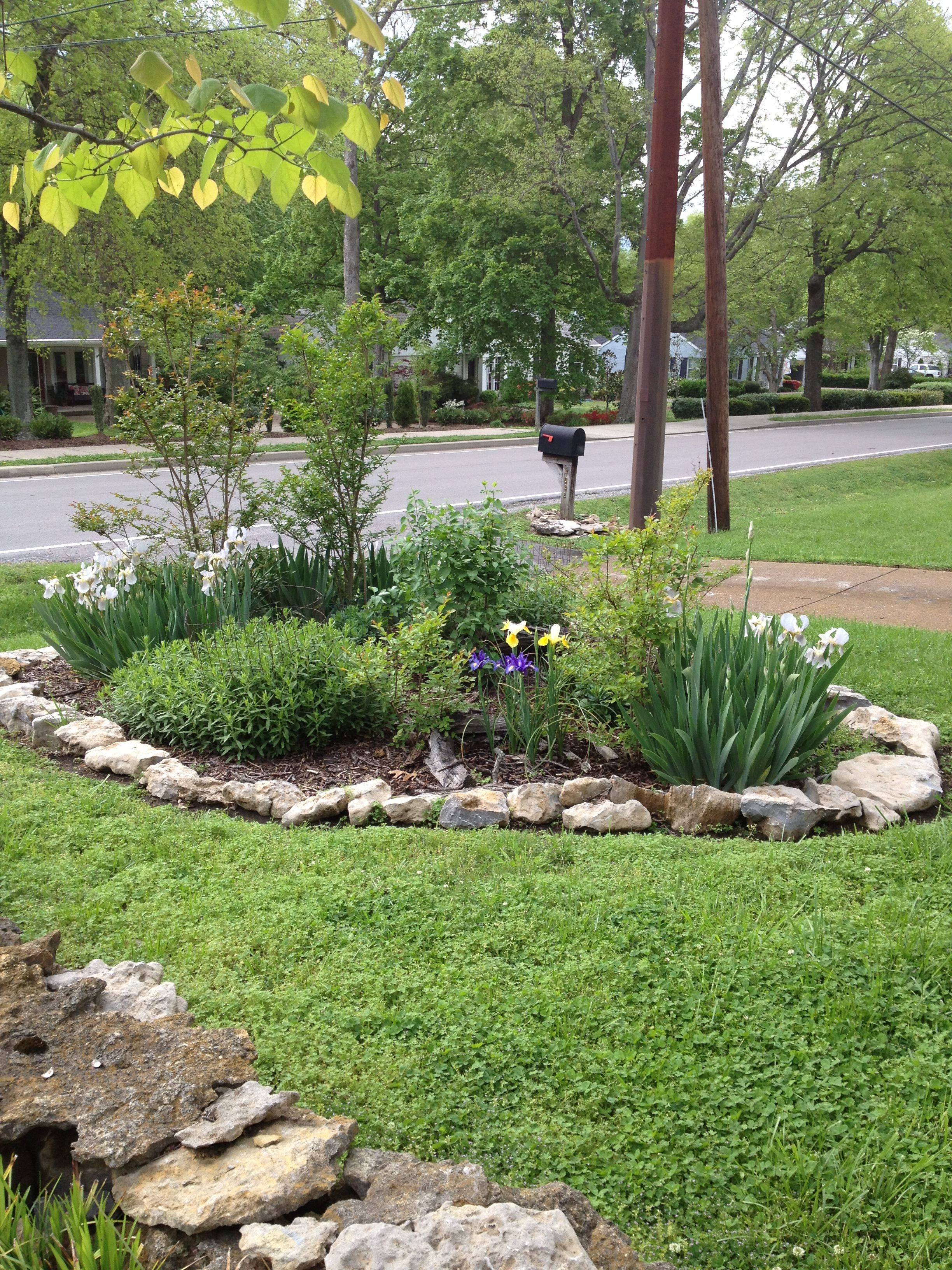 Island flower garden with rock border diy rock gardens for Rock garden bed ideas