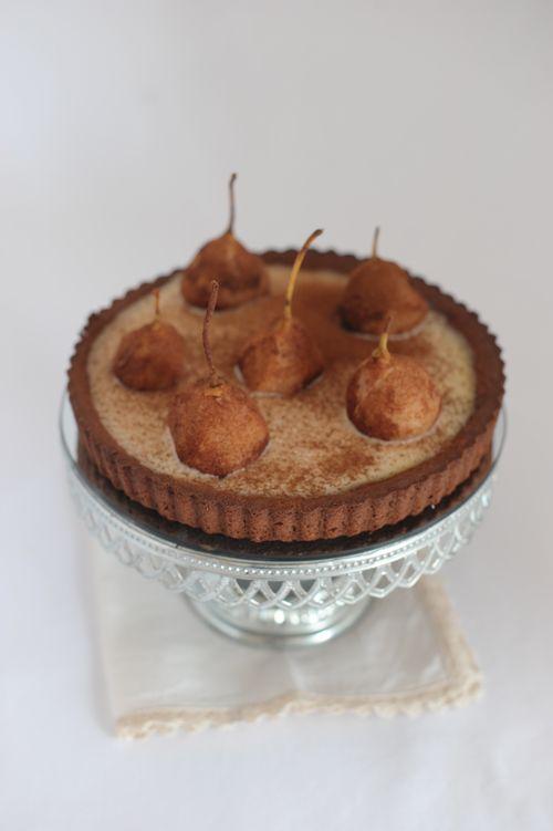 Sablè #Chocolate #cake with vanilla cream, cinnamon  pears and melted dark chocolate