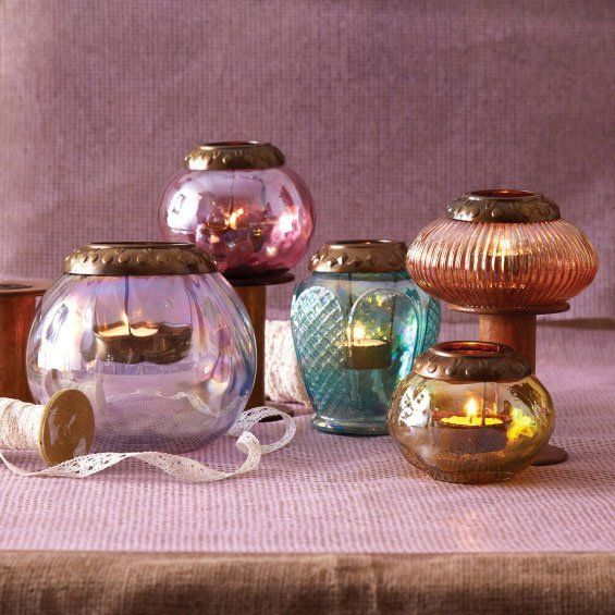 Iridescent Tea Light Candle Holders, Set of 5