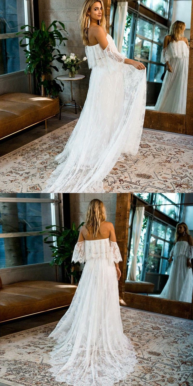 Aline strapless half sleeves sweep train lace beach wedding dress