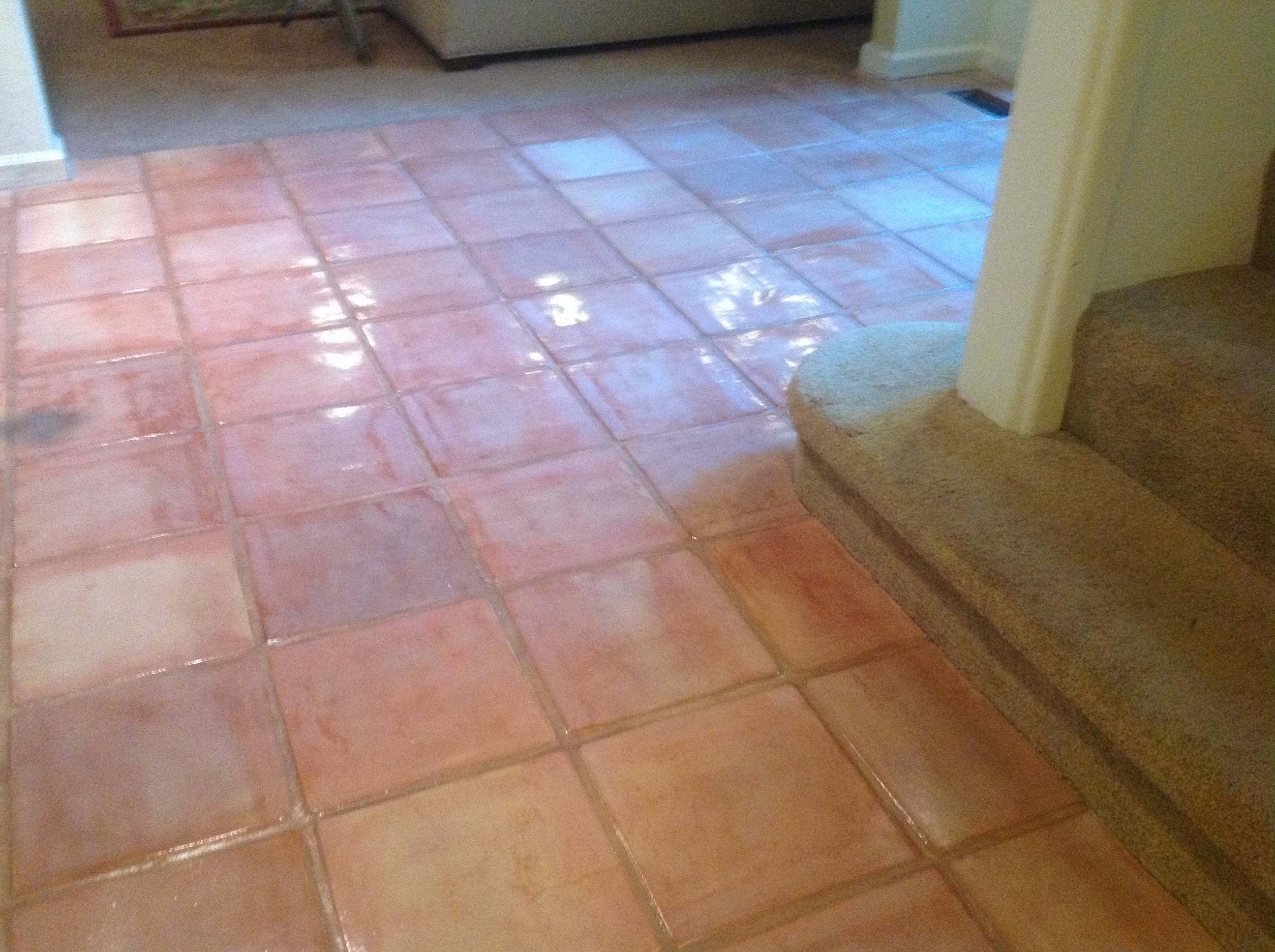 Stripping cleaning and staining saltillo tile