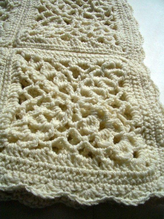 Cream victorian granny square crochet afghan   •☆• Crochet ...