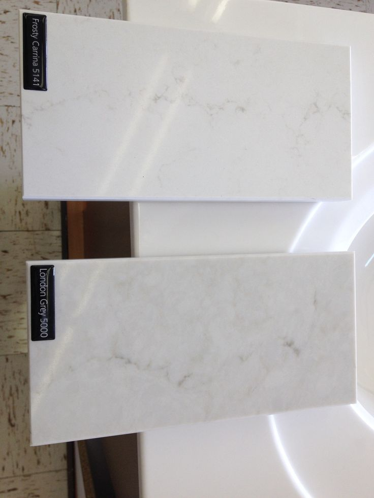 Vanity Countertop: Caesarstone U0027London Greyu0027 Vs. U0027Frosty Carrina (top)u0027    Frosty Carrina Is Much Whiter Background With Very Slight Grey Veining.