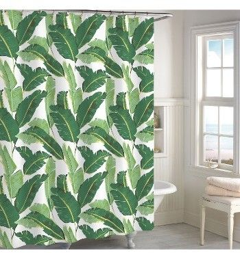 Destinations Miami Leaf Shower Curtain Green Shower Curtains