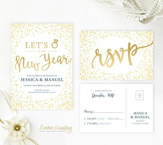 new years eve wedding invitations and rsvp cards lets ring in the new year invitation gold and
