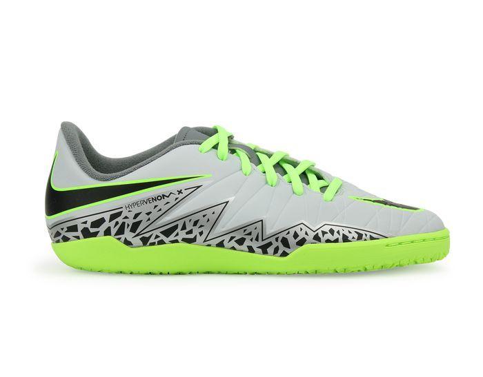 968f537139d Nike Kids HypervenomX Phelon II Indoor Soccer Shoes Pure Platinum Black Ghost  Green