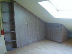 Kast onder schuine muur idee n kledingkast pinterest - Idee outs kamer bad onder het dak ...