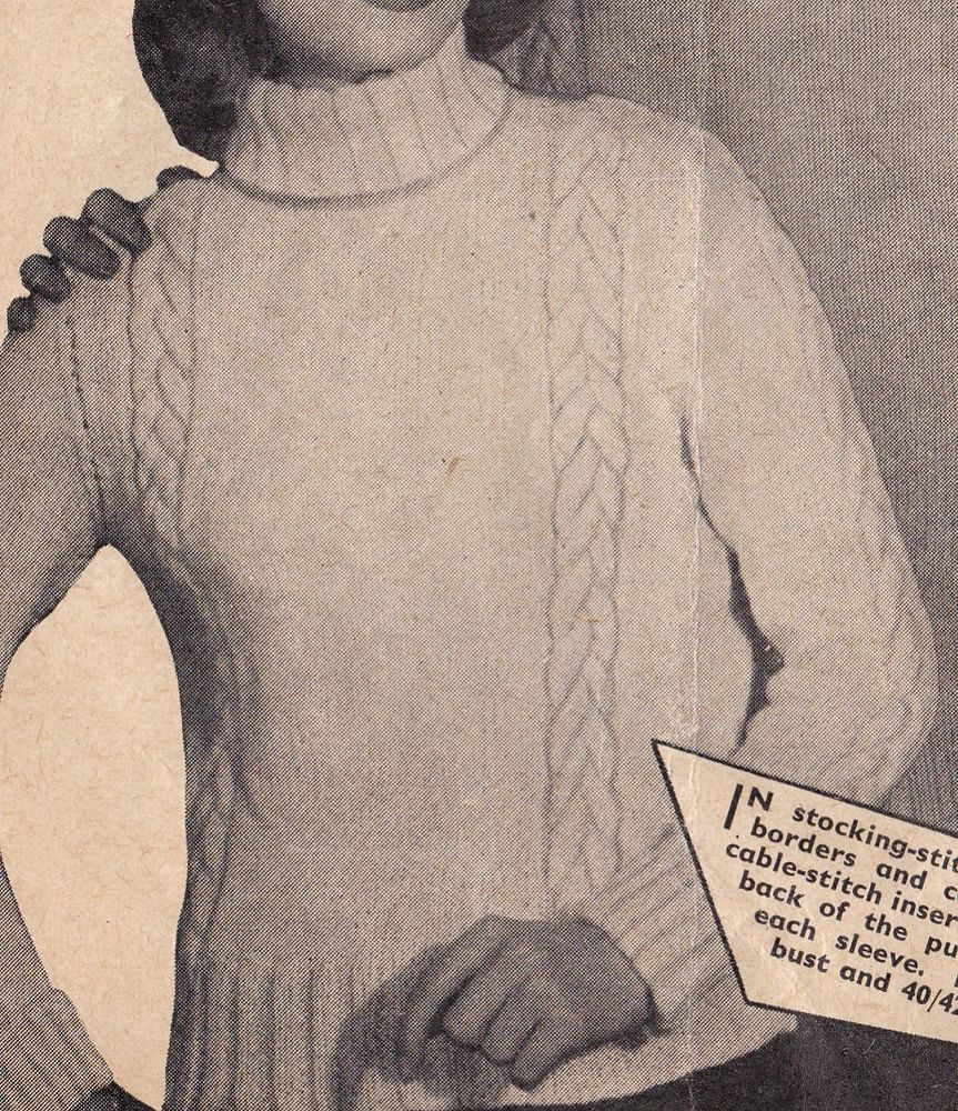 Vintage Knitting Pattern Instructions for Ladies & Mens DK Cable ...
