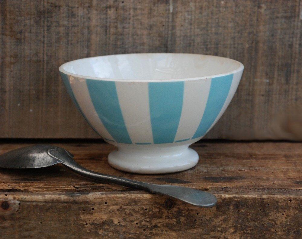 Cafe au lait kitchen decor - Coffee Bowl French Caf Au Lait Country Kitchen Decor Digoin Ceramic Blue Bowl Mid Century