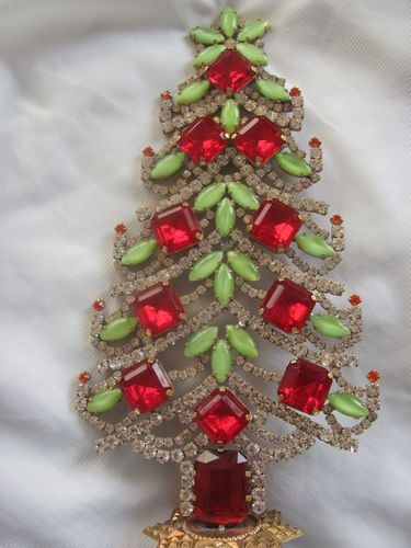 Wonderful Czech hand made Rhinestone christmastree stand up signed HUSAR.D  40 | eBay - Wonderful Czech Hand Made Rhinestone Christmastree Stand Up Signed