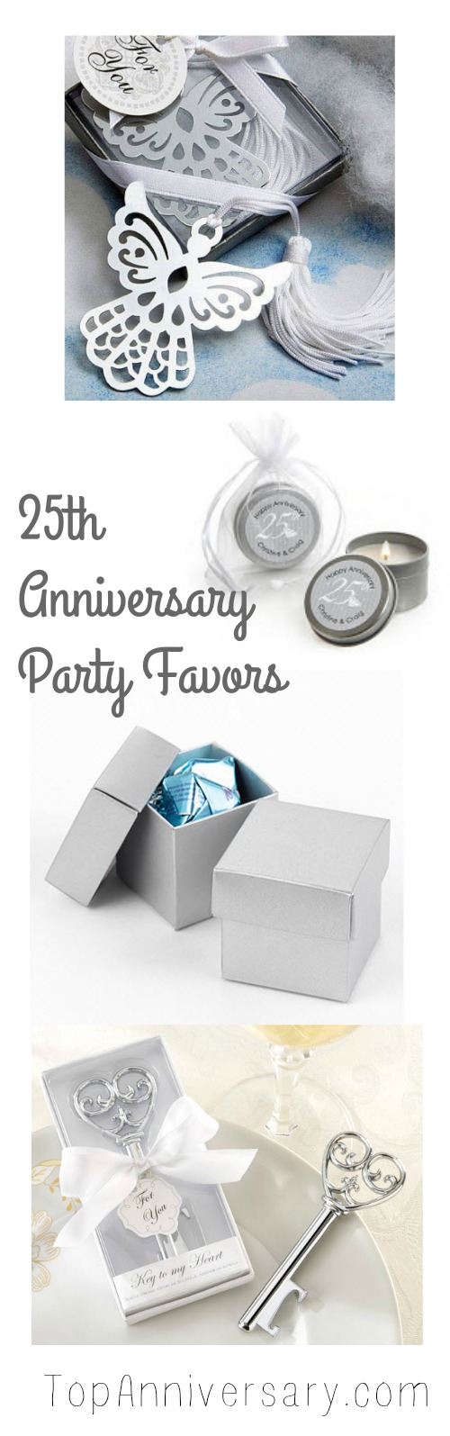 25th Anniversary party supplies with a silver theme. A big selection ...