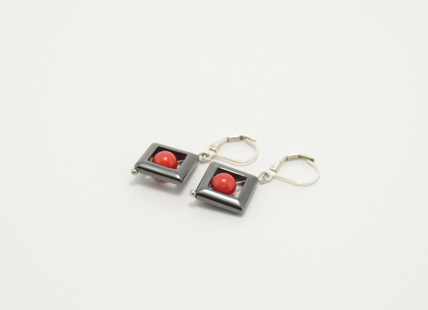 Hematite earrings, red coral earrings, stone earrings, beaded earrings, natural stone earrings, semi-precious stones, red black earrings by PastimeArt on Etsy