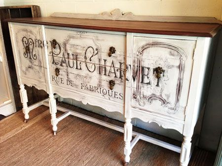 French Typography Painted Buffet  Reader Featured Project See Repurposed Gems for info on transfer methods.  Method is described in the comments.
