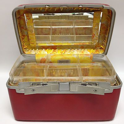 Vintage Samsonite Red Train Case - Sentry -Tray & Mirror - Yellow Floral Lining