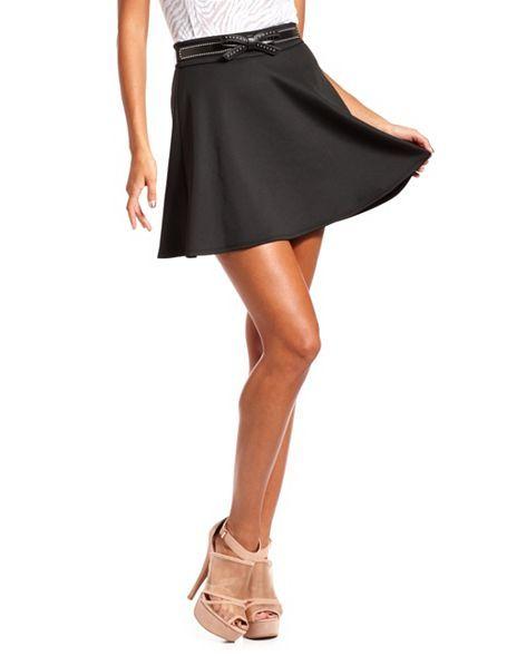 Studded Belt Scuba Skater Skirt: Charlotte Russe