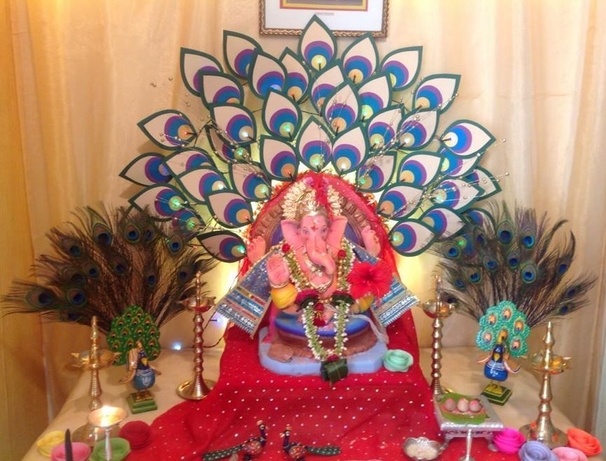 Ganpati decoration ideas at home dev decors pinterest for Background decoration for ganpati