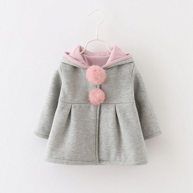 59cb14ba125 Sping Outono Inverno Do Bebê Meninas Crianças Crianças Bola Coelho Bonito  Com Capuz Princesa Presentes Roupas Casaco Jaqueta Casacos Outwears S3989
