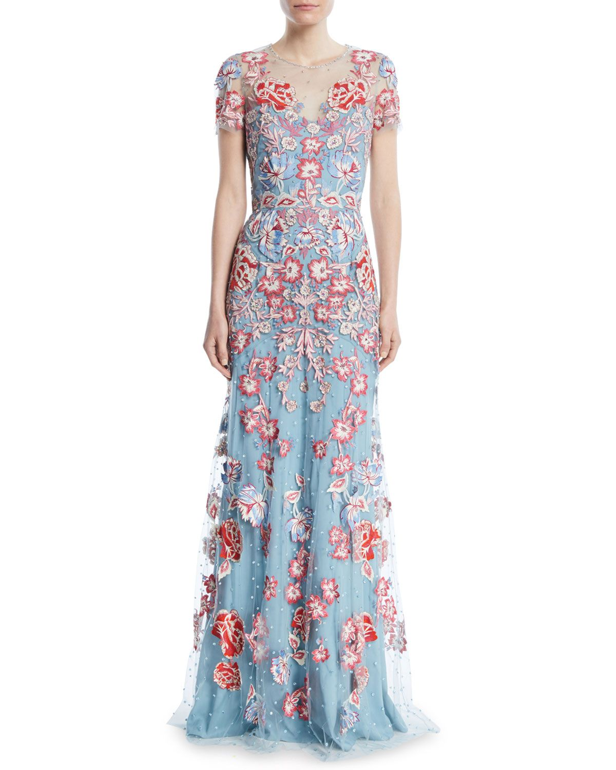 379390a980d Jenny Packham Floral-Embroidered Short-Sleeve Evening Gown in 2019 ...