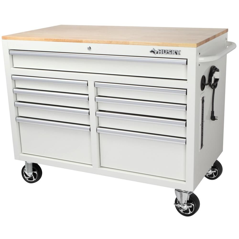 Husky 46 In W 9 Drawer Deep Tool Chest Mobile Workbench In Gloss White With Hardwood Top H46mwc9gwxd Tl The Home Depo In 2020 Mobile Workbench Tool Chest Workbench