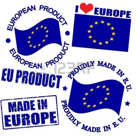 Conjunto de sellos y etiquetas con el texto hecho en Europa por escrito dentro